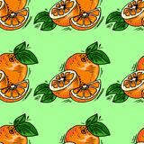 Hand-drawn illustrations. Card with fruit, oranges. Seamless pattern. Stock Images