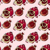 Hand-drawn illustrations. Card with fruits, pomegranates. Seamless pattern. Stock Photography