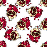 Hand-drawn illustrations. Card with fruits, pomegranates. Seamless pattern. Stock Photos