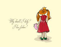 Hand-drawn illustrations. Card with a princess. Red-haired girl with a book. Why should I study? I love fashion! Stock Photos