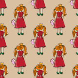 Hand-drawn illustrations. Card with a princess. Red-haired girl with a book. Why should I study? I love fashion! Seamless pattern. Hand-drawn illustrations Royalty Free Stock Images