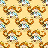 Hand-drawn illustrations. Card with a princess. Red-haired girl with a cake. No vegetables! cakes, cakes, cakes! Seamless pattern. Royalty Free Stock Photos