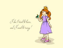 Hand-drawn illustrations. Card with a princess. Red-haired girl and a frog. I do not want to learn and want to marry. Royalty Free Stock Photography