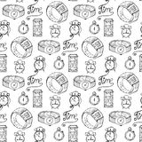 Hand-drawn illustrations. The clock on the background with the inscription Time is money. Seamless pattern. Stock Image