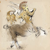 Centaur and Nymph. An hand-drawn illustrations (converted into vector - 6 layers) in ancient Greek myths and legends: Centaur and Nymph (In Greek mythology, a Royalty Free Stock Photo