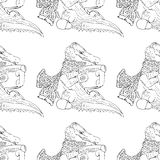 Hand-drawn illustrations. Crocodile drinking tea. Seamless pattern. Stock Photos