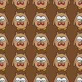 Hand-drawn illustrations. Cute owl with a red bow. Seamless pattern. Stock Photo