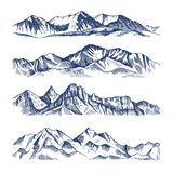 Hand drawn illustrations of different mountains landscape. Mountain travel, rock peak and highlands range vector Royalty Free Stock Image