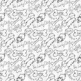 Hand-drawn illustrations. The dream of a dog is a bone. Seamless pattern. Stock Image