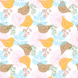 Hand-drawn illustrations. Greeting card with birds in ethnic style. Seamless pattern. Stock Photos