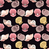 Hand-drawn illustrations. Image with seashells on the depth of the sea.Seamless pattern. Royalty Free Stock Photo