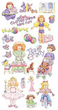 Hand-drawn Illustrations of Little Girls Royalty Free Stock Image