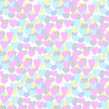 Hand-drawn illustrations. Multi-colored hearts. Postcard Valentine's Day. Seamless pattern. Stock Images