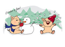 Hand-drawn illustrations. New Year card. Winter card with pigs. Children playing with snow. Piglets and snowman. Stock Photo