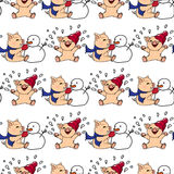Hand-drawn Illustrations. New Year Card. Winter Card With Pigs. Children Playing With Snow. Piglets And Snowman. Seamless Pattern.