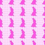 Hand-drawn illustrations. Pink bunny on a polka dot background. Seamless pattern. royalty free illustration