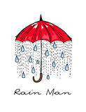 Hand-drawn illustrations. Rain under a red umbrella. Postcard Rain Man. Royalty Free Stock Photography