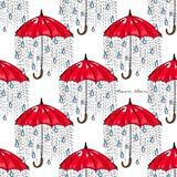 Hand-drawn illustrations. Rain under a red umbrella. Postcard Rain Man. Seamless pattern. Stock Image