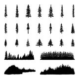Tree Silhouettes. Hand drawn illustrations of trees, tree lines, and forests Royalty Free Stock Photos