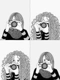 Two young women taking photos Royalty Free Stock Photos