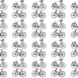 Hand-drawn illustrations. Vintage bicycles. Black and white postcard. Seamless pattern. Stock Images