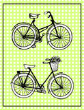 Hand-drawn illustrations. Vintage bicycles. Vintage polka dot card. Stock Photo