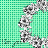 Hand-drawn illustrations. The wreath of flowers and poppies on a background of polka dots. Postcard I love you. Stock Photography