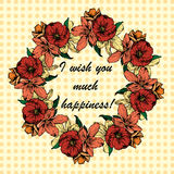 Hand-drawn illustrations. The wreath of flowers and poppies on a background of polka dots. Postcard I wish you much happiness. Stock Photo