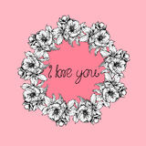 Hand-drawn illustrations. The wreath of flowers and poppies on a pink background. Postcard I love you. Royalty Free Stock Photography