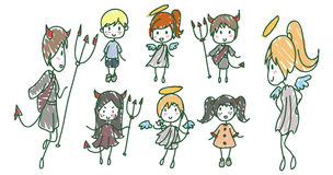 Angels and Devils. Hand drawn image of childish Angels and Devils Stock Images