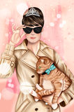 Hand drawn image - Girl wearing elegant outfit, black sunglasses and holding a cat. Girl wearing elegant outfit, black sunglasses and holding a cat Stock Photo