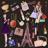 Hand drawn images Cosmetics and Perfume Royalty Free Stock Photos