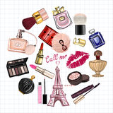 Hand drawn images Cosmetics and Perfume Stock Images