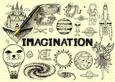 Hand drawn about imagination on yellow paper with 3d fountain pen Royalty Free Stock Photography
