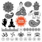 Hand Drawn  India Design Elements Set Stock Photography