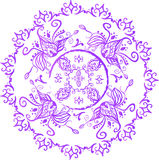 Hand-drawn indian, arabic, east mandala. With watercolor and ink effects Royalty Free Stock Photography
