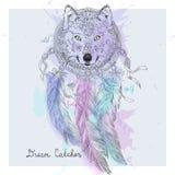 Hand drawn Indian decorative Dream Catcher Wolf. Stock Photo