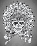 Hand drawn Indian headdress with human skul,l tomahawk and calum Stock Photos