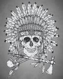 Hand drawn Indian headdress with human skul,l tomahawk and calum Stock Photos