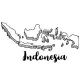 Hand drawn of Indonesia map,  illustration. Hand drawn of Indonesia map Stock Photography