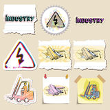 Hand drawn industrial and construction emblems set Royalty Free Stock Photos