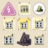 Hand drawn industrial and construction emblems set Stock Images