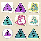 Hand drawn industrial and construction emblems set Stock Photo