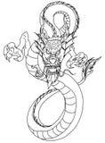 Hand drawn infinity Chinese dragon tattoo design Stock Photography