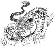 Hand drawn infinity Chinese dragon tattoo design Royalty Free Stock Photo