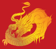Hand drawn infinity Chinese dragon tattoo design Royalty Free Stock Photography