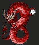 Hand drawn infinity Chinese dragon tattoo design vector illustration