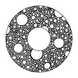 Hand drawn with ink abstract circle background with doodles, bubbles, circles. Stock Photo