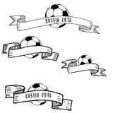 Hand drawn ink frames with football ball. Hand drawn ink black and white frames with football ball Vector Illustration