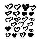 Hand Drawn Ink Brush Hearts. Vector Illustration of Grunge Paint Stain Stock Photos